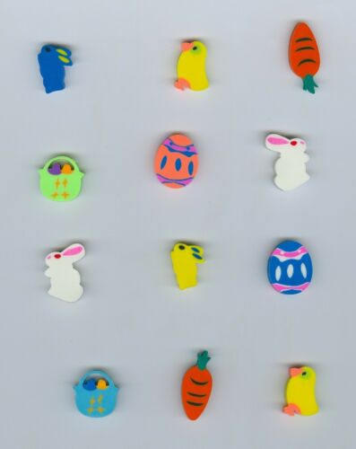 Twelve Mini Easter shaped erasers Great party theme!