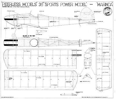 """Accurato Peerless Marinda Modello Di Volo Libero Piano 38"""" Span-mostra Il Titolo Originale I Colori Stanno Colpendo"""
