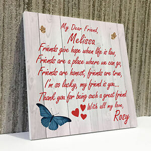 personalised best friend friendship plaque sign thank you birthday