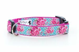 Millie-Rose-Flower-Handmade-Pink-Puppy-Dog-Collar-OR-Lead-Size-Small-Large