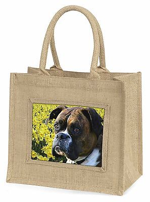Boxer Hund mit Narzissen Große Natürliche Jute-einkaufstasche Weihnachten,