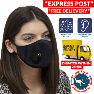 Adult Reusable Washable Anti Dust Cloth Face Mask with Breather Valve + Filters