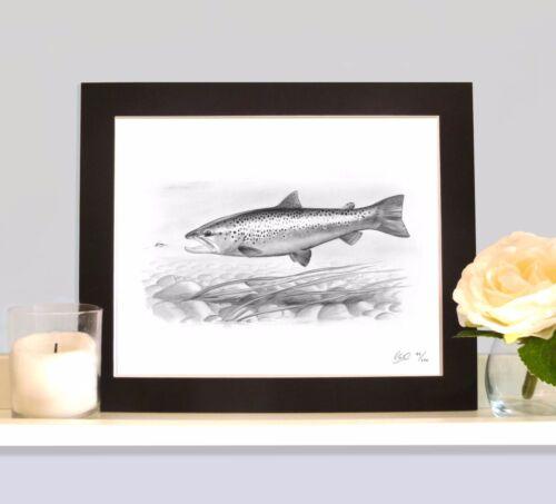 Brown Trout Fly Fishing Art Imprimé Photo Cadeau pour truite Pêcheur Fisherman