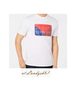 Armani-Exchange-White-Blue-Red-Logo-Design-Cotton-Crewneck-Men-039-s-T-Shirt-Sz-XL