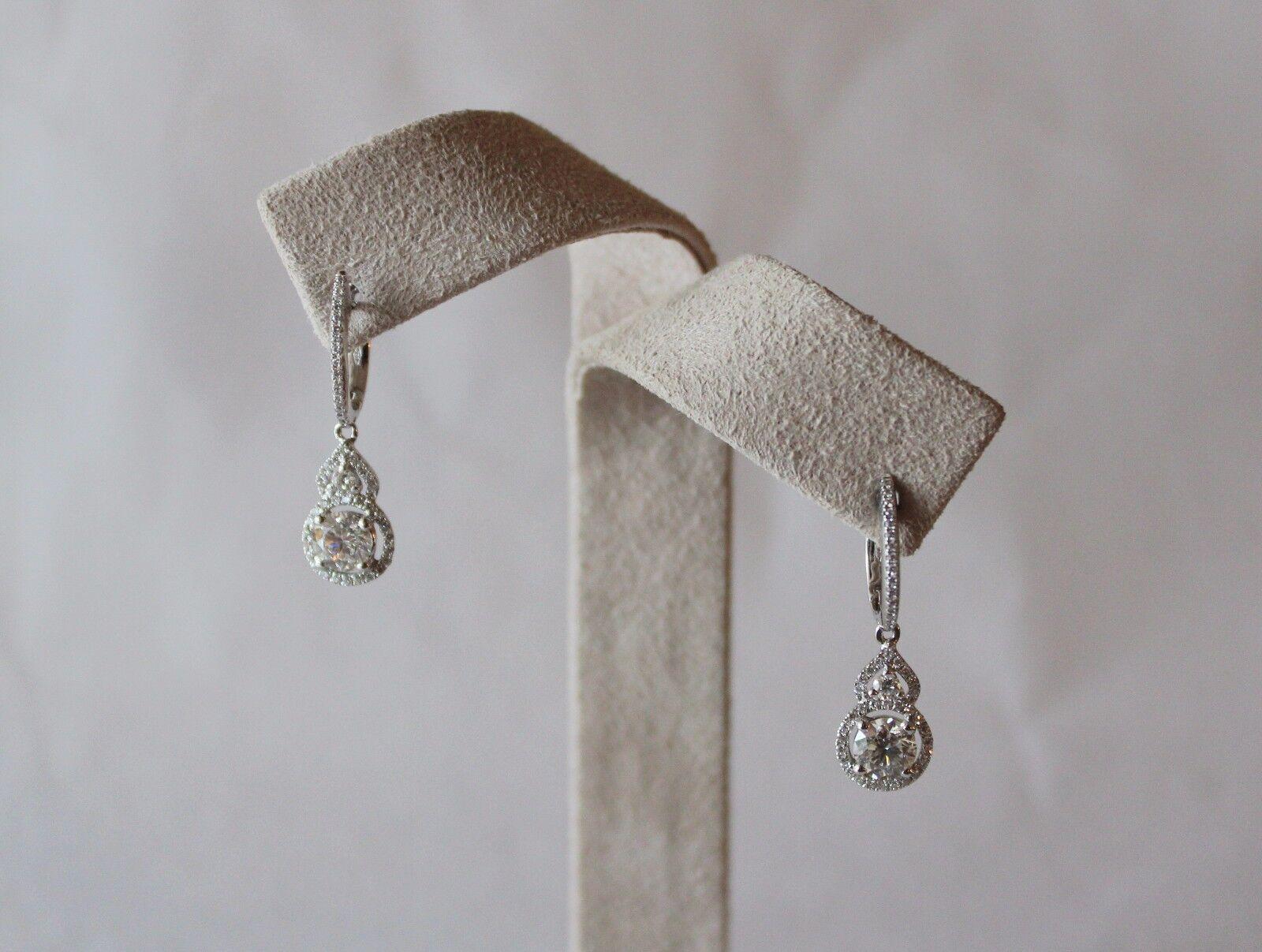 Crivelli- 18 kt. White gold & Diamond Dangle Hoop Earrings-