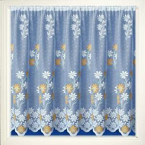 YELLOW-GOLD-MARIGOLDS-SPRING-DAISY-FLOWERS-WHITE-LACE-NET-CURTAIN-SOLD-PER-METRE