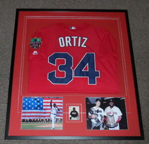 sale retailer 06f32 a43d1 Details about David Ortiz Signed Framed 32x36 Jersey & Photo Display JSA  Red Sox