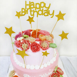 Image Is Loading Happy Birthday Party Star Cake Topper Food Cupcake