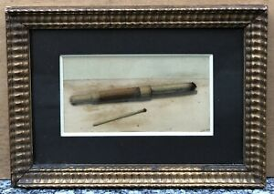 Aquarelle Ancienne Nature Morte Fume Cigarette Allumette Signée 1880 Cadre XIXe