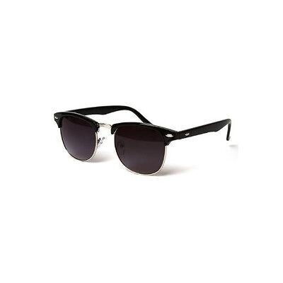 Classic Retro Clubmaster Sunglasses 1980's Vintage Black & Silver Round UV400