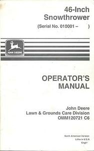 john deere omm120721 46 snowthrower for 318 332 425 445 455 rh ebay com john deere 445 operators manual pdf john deere 445 operators manual pdf