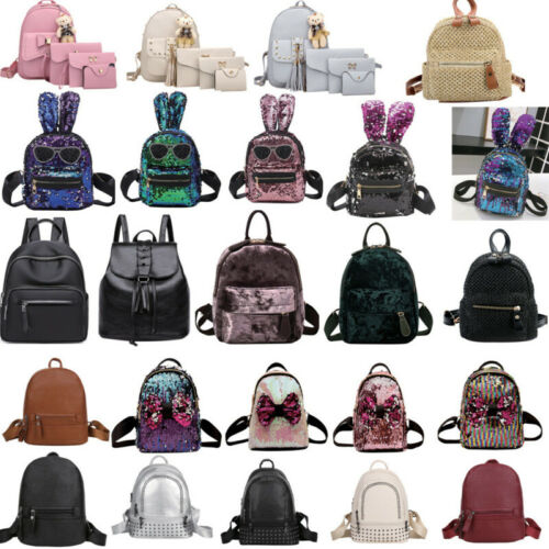 Women PU Leather Mini Teenager Girls Outdoor Travel Shopping Backpacks Bo XGF