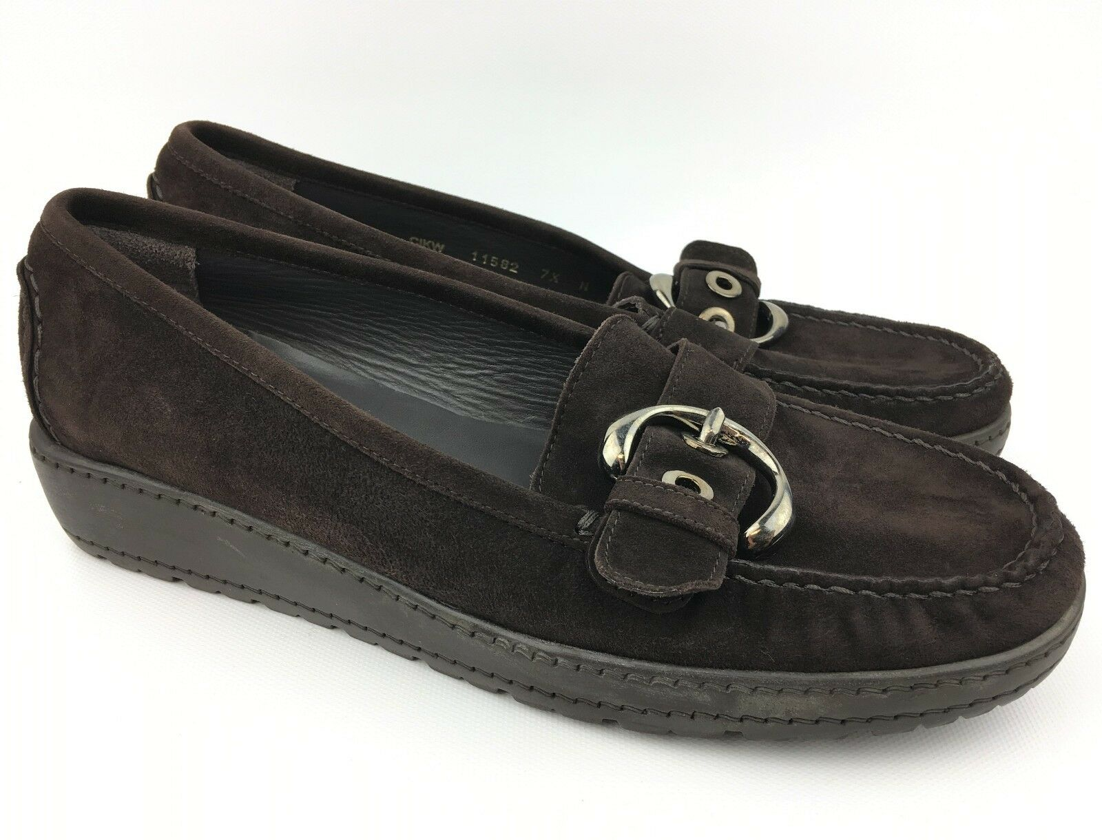 Stuart Weitzman Women's Brown Suede Wedges Flats Loafers sz  US 7.5 N (Narrow)