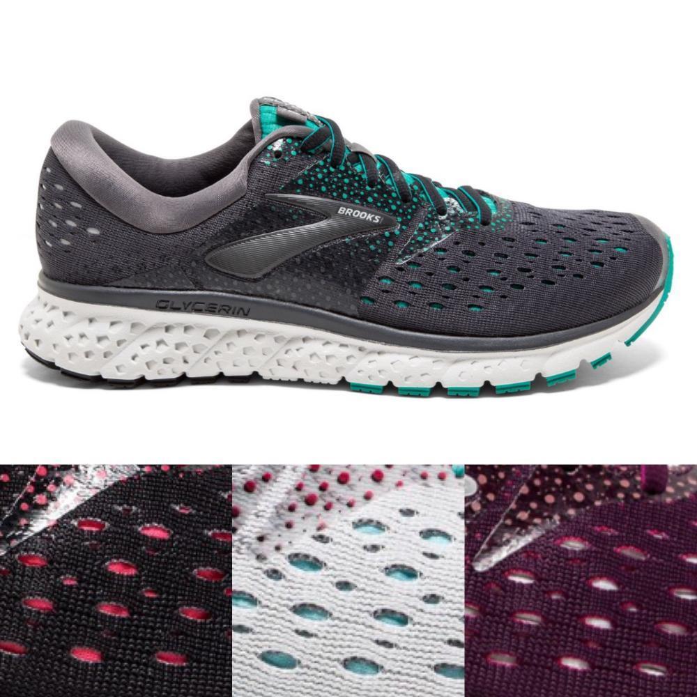 Women's Brooks Glycerin 16 Running Athletic Shoes White Grey Black Purple