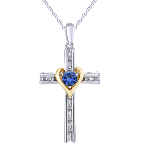 """Mother's Day Blue Sapphire /& Diamond 14K Gold Over Cross 18/"""" Necklace $419.96"""