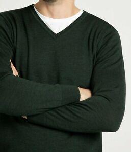 Men-039-s-nuevo-de-Christian-Berg-mezcla-de-lana-con-cuello-en-v-sueter-Jumper-Tamano-XL-44-034