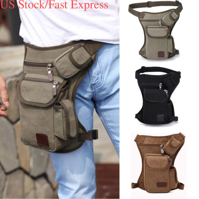 US Stock Men Canvas Drop Leg Bag Motorcycle Rider Military Belt Waist Fanny Pack