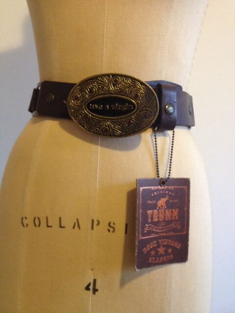 Trunk Ltd. Brown Leather Belt w/ Madonna Like A Virgin Buckle Limited Edit. Boho
