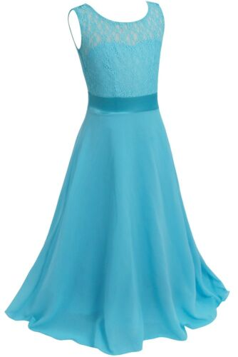 UK Flower Girl Dress Bridesmaid Wedding Lace Dresses Princess Party Formal Gown