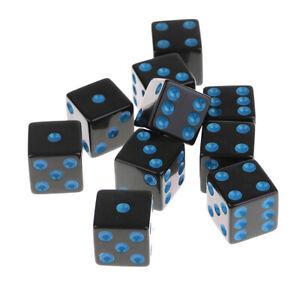 10-un-6-lado-cuadrado-dados-Opaco-D6-16mm-Estandar-Fiesta-dados-negro-con-puntos-azules