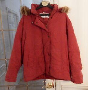 Details zu Vintage Bernardo Red Quilted Parka Jacket with Removable Fur Trimmed Hood SZ LRG