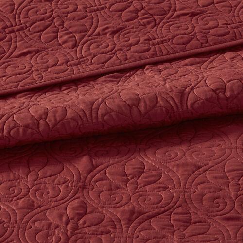 ~BEAUTIFUL XXXL RED CLASSIC SCROLL CHIC VINTAGE ELEGANT SOFT BEDSPREAD QUILT SET