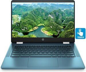 "HP Chromebook x360 14"" HD Touchscreen Intel Celeron N4020 64GB eMMC 4GB RAM Teal"