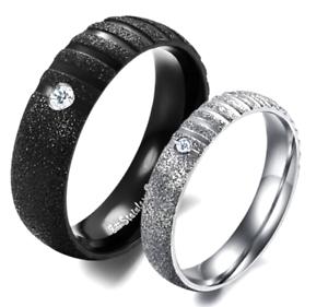 Coppia-Fedine-Fidanzamento-Acciaio-Satinate-Brillantinate-Argento-Nero-Incisioni