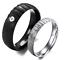 Coppia-Fedine-Fidanzamento-Acciaio-Satinate-Brillantinate-Argento-Nero-Incisioni miniatura 1