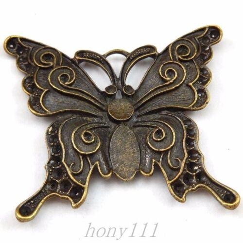 4pcs Vintage Aleación De Bronce Mariposa Colgante encantos Accesorios Joyería 39823