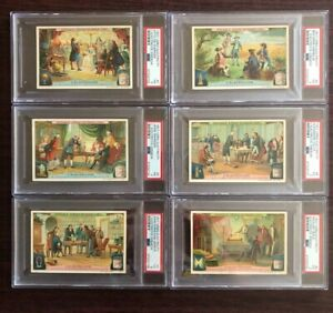 1907-Liebig-Electricity-Complete-French-Set-6-Cards-Total-all-graded-PSA-3