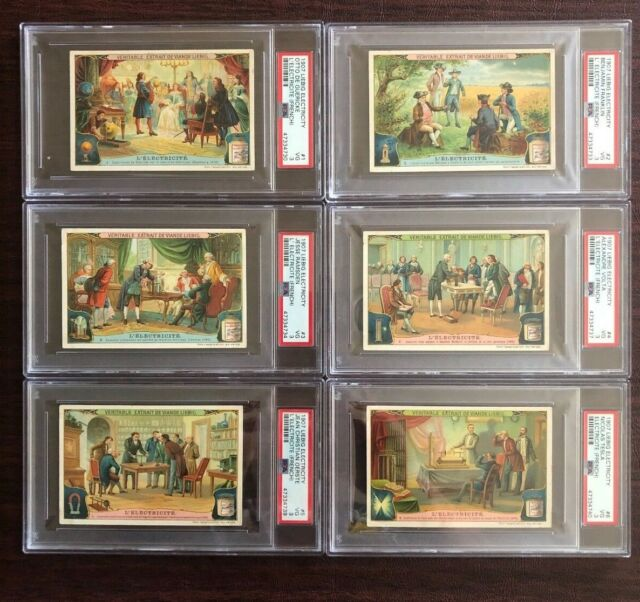 1907 Liebig Electricity - Complete French Set (6 Cards Total) all graded PSA 3