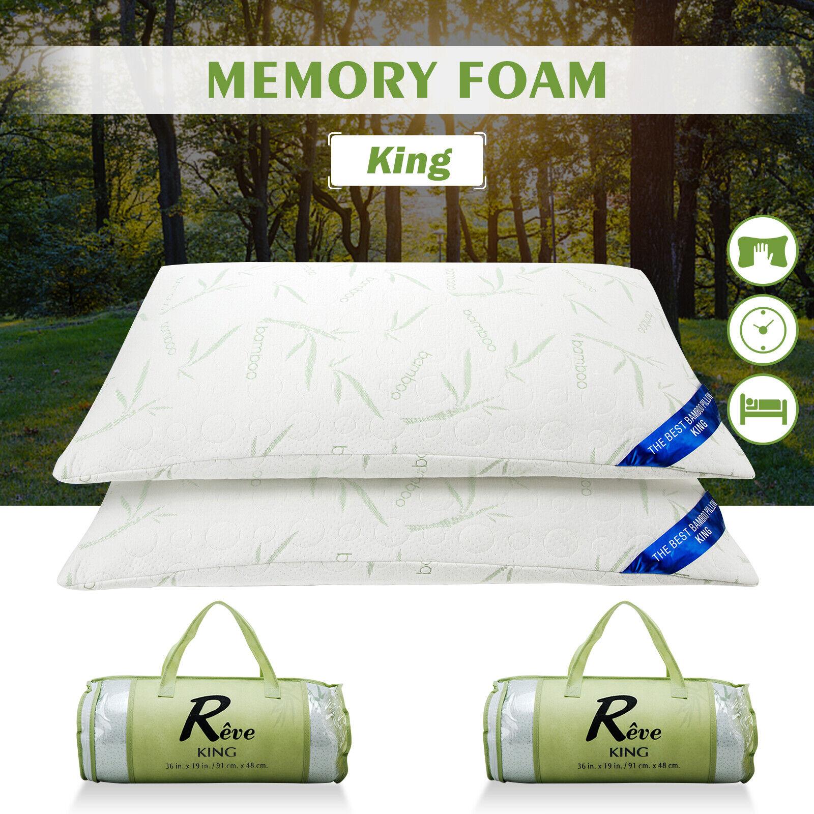 2PCS King Size Original Bamboo Memory Foam Pillow Hypoallergenic w  Carry Bag