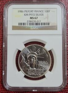 1986 PIEFORT FRANCE 100 Francs NGC MS67 Silver 0.95 {KM#P972}