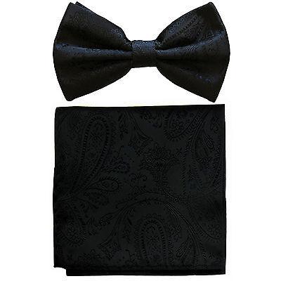 New formal men/'s pre tied Bow tie /& hankie set paisley pattern peach wedding