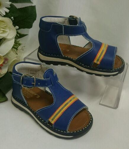 20 Blau Streifen LEDER Neu BABY Jungen Kinder Schuhe SANDALEN MADE IN ITALY Gr