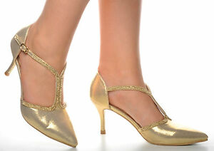3b6d5f518a69c7 Image is loading Gold-Diamante-Pointed-Toe-Shiny-Wedding-Heels-Sandals-