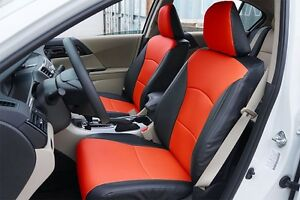 2017 Honda Accord Seat Covers >> HONDA ACCORD 2013-2017 BLACK/RED LEATHER-LIKE CUSTOM MADE FIT FRONT SEAT COVER | eBay