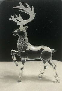 Vintage-Lucite-Acrylic-Deer-Buck-Figurine-Frosted-Antlers-Textured