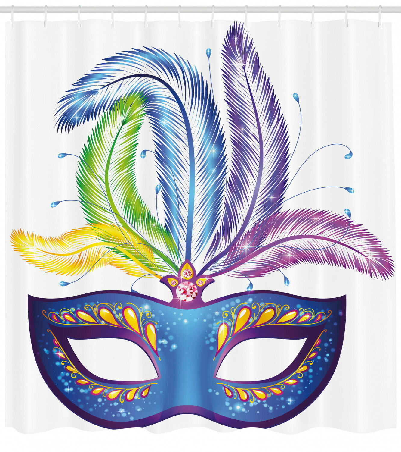 Mardi Gras Shower Curtain Blau Venetian Mask Print For Bathroom 845be3