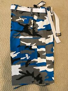 37949913bd NWT Men's Regal Wear Blue White Camouflage Camo Belted Cargo Shorts ...