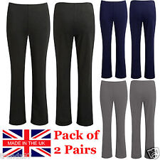 2 PACK WOMENS BOOTLEG TROUSERS LADIES BOOTCUT STRETCH FINELY RIBBED WORK BOTTOMS