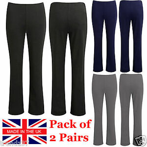 2-PACK-WOMENS-BOOTLEG-TROUSERS-LADIES-BOOTCUT-STRETCH-FINELY-RIBBED-WORK-BOTTOMS