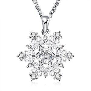 Silber-Schneeflocke-Engel-Halskette-Anhaenger-Kette-Zirkonia-Damen-Maedchen-Kinder