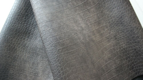 Kunstleder Taschenstoff  0,50 x 1,40 dunkelbraun Krokomuster