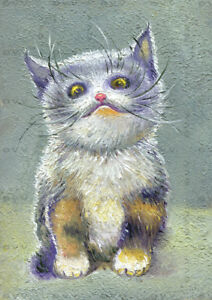 ACEO-ATC-Art-Painting-Pictures-Oil-2-5-034-x3-5-034-V-Vlasiuk-Cat