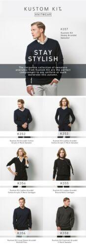 """32//34/"""" Chest Green Mens Arundel V-Neck Sweater Long Sleeve Jumper Kustom Kit"""