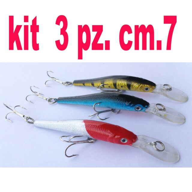 KIT ARTIFICIALI PESCA SPINNING MARE LAGO FIUME MINNOW CANNA SPINNING TRAINA