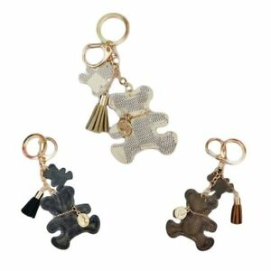 Fashion-Teddy-Bear-Leather-Tassel-Key-Ring-Car-Bag-Charm-Keychain-Keyring