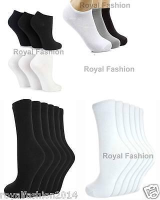 Besorgt Men's Ladies Girls Socks Trainer Liner Ankle Rich Cotton Plain Socks Black/whte Und Verdauung Hilft